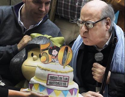 Quino celebrating 50 years of Mafalda